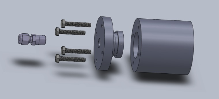 Exploded view of the pressure vessel.